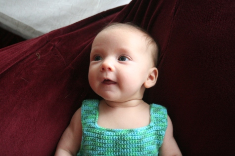 Sophie's Amma crocheted the dress.